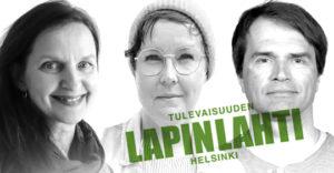 Kuvituskuvaksi tarkoitettu kuva, jossa kolmen blogikirjoittajan kuvat mustavalkoisena sekä Kaikkien Lapinlahti -logo